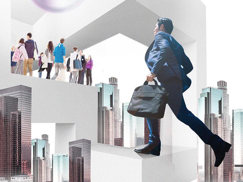 Collage von Menschen, Hochhäusern und Seifenblasen