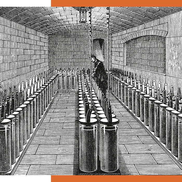 Batterien im Pariser Rathaus, historisch